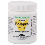 Super Folsyre 400 mikrogram 180 tabletter